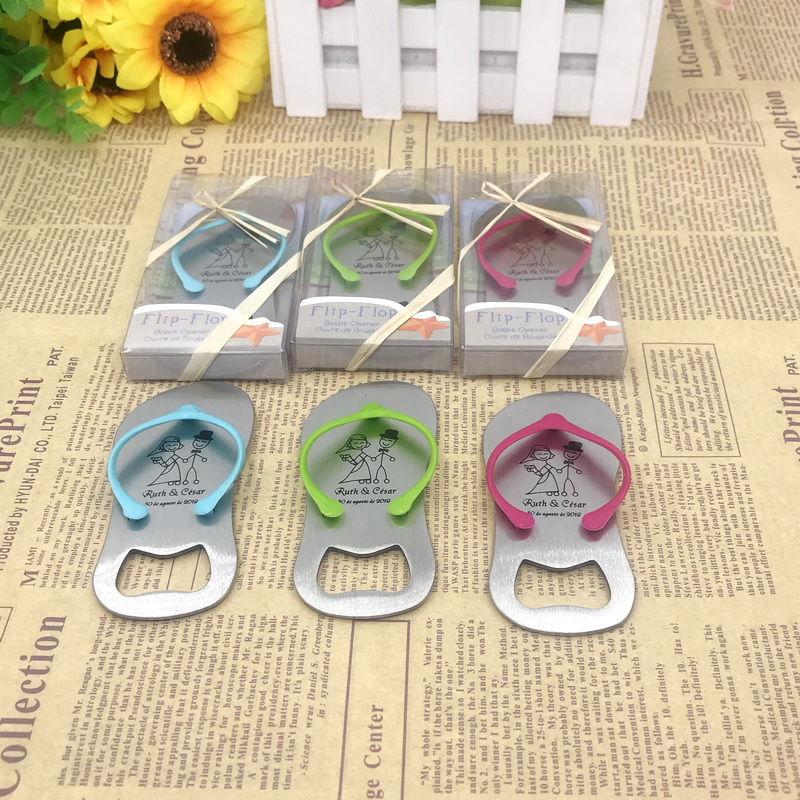 (100pcs/Lot)FREE SHIPPING+Printing Logo Flip Flop Bottle Opener Customized Wedding Favors Unique Party Giveaways For Guest