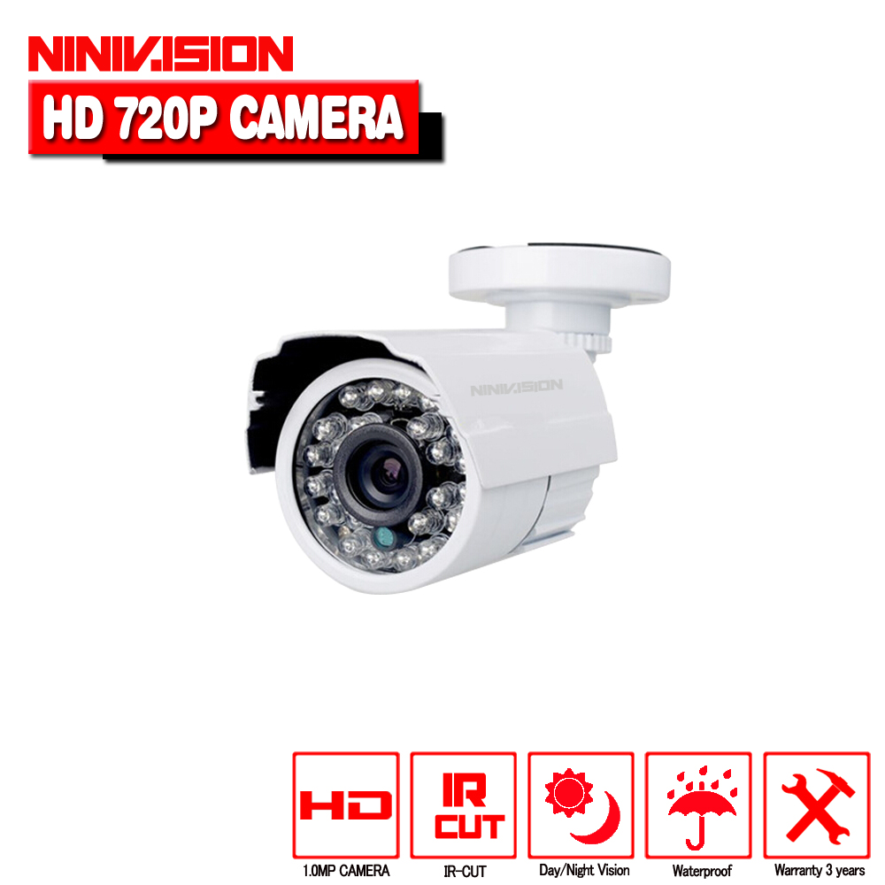 NINIVISION HD AHD 720P HD 1.0MP Bullet Camera CCTV indoor Outdoor Security 24 IR Night Vision White for Security camera System 720p ahd camera bullet cctv outdoor security 36ir night vision hd analog bnc for ahd dvr