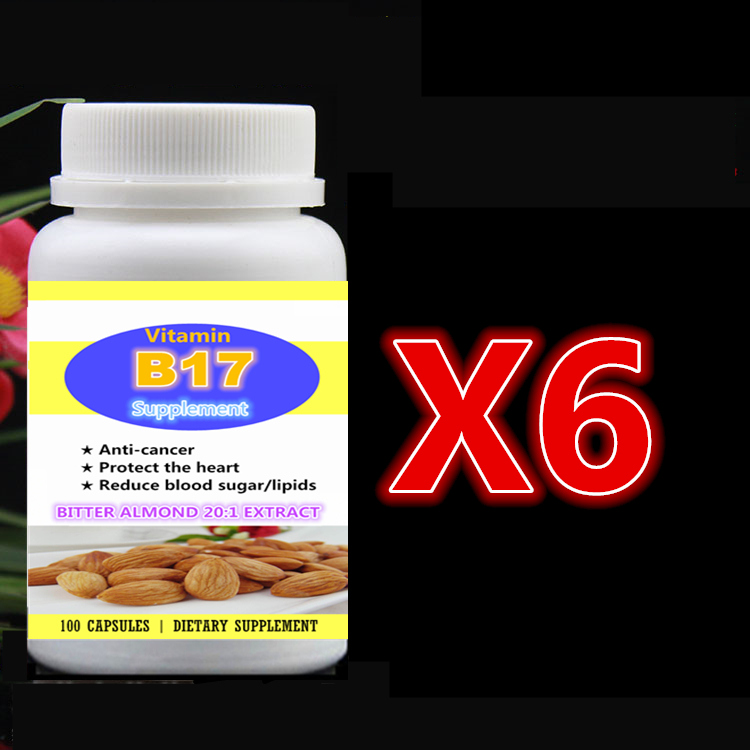 6 bottle 600pcs Add Vitamin B17 Almond 20:1 Extract Bitter Apricot Seed,Anti-Cancer Protect Heart Reduce Blood Sugar and Lipids vitamin b17 caps bitter apricot kernel extract anti aging anti cancer 100pcs bottle