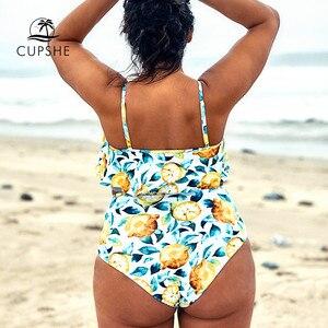 Image 2 - CUPSHE حجم كبير ورقة والليمون مطبوعة تانك بيكيني Tankini امرأة قطعتين المايوه 2020 فتاة الشاطئ لباس سباحة ملابس السباحة