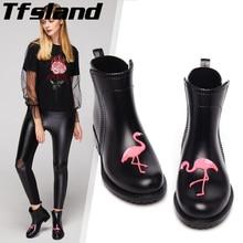 Женская водонепроницаемая обувь; шикарная прогулочная обувь с Фламинго; резиновые полуботинки Martin из ПВХ; нескользящие водонепроницаемые резиновые сапоги с рисунком; женские резиновые сапоги; 40