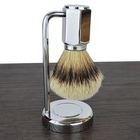 DScosmetic 2pcs new Deluxe silvertip badger hair beard shaving brush set shave stand holder kit for men's gift