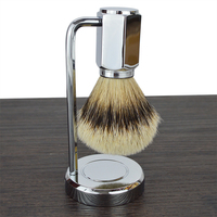 DScosmetic 2pcs new Deluxe silvertip badger hair beard shaving brush set shave stand holder kit for men's gift
