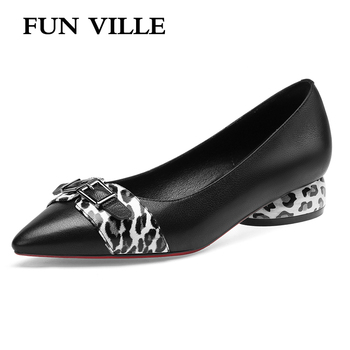 FUN VILLE New Fashion Leopard shoes Spring Summer shoe Women Pumps Genuine Leather Low Heels shoes Pointed Toe Sexy Ladies Shoes