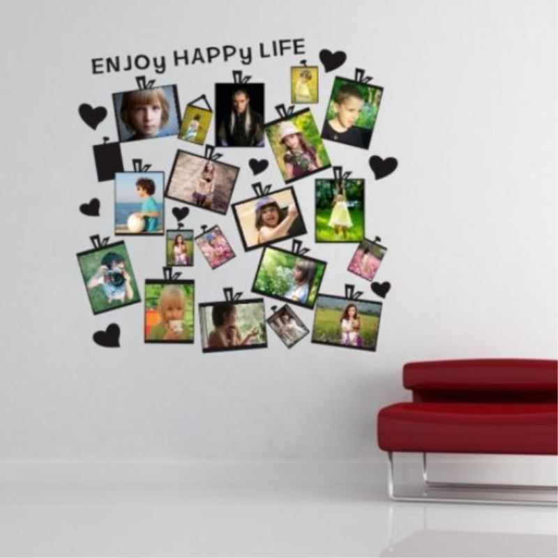 Wall paper 20pcs diy family picture photo frame wall for Diy photographic mural