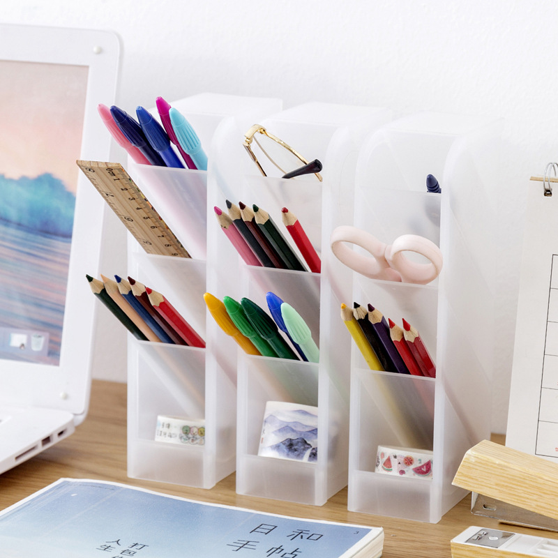 Simple And Transparent Matte Oblique Pen Holder Office Desk Storage Box Student Desk Stationery Rack