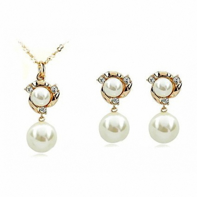 New Sale Dan's Element R.A Austrian Crystals    Pearl Jewelry Set for women  #RA80537+20305