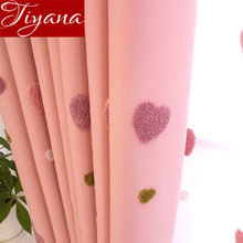 Розовая Занавеска с сердечками для девочек, детская комната, Мультяшные занавески, занавески из прозрачной ткани для окна, спальни, тюлевые занавески X521#30