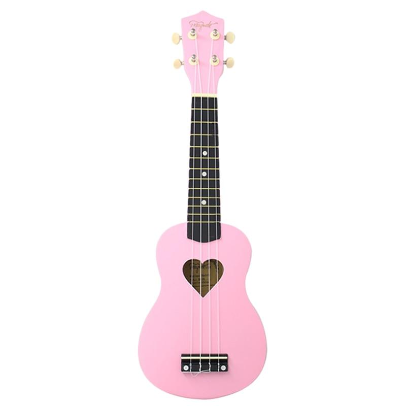 Mcool Concert Ukulele 23 Inch Pink Ukelele 4 Strings Hawaii Mini Guitar Heart-Shaped Tone Hole Basswood Wood Uke