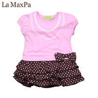 Girls Dresses Pink Top With Bow And Dress With Polka Dots For Little Girl Spring Half