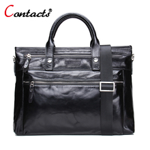 CONTACT'S Genuine Leather Crossbody Shoulder Bags For Men Messenger Bag Male Briefcase With Handles Men Brands Cross Body Laptop