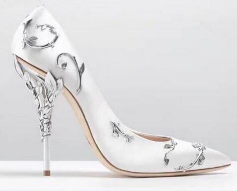 Frauen Luxus Metallischen Blumen Design High Heels Blätter Heels Hochzeit Schuhe Stiletto Dünne Ferse Mode Schuhe Damen Schuhe Größe 42 - 2