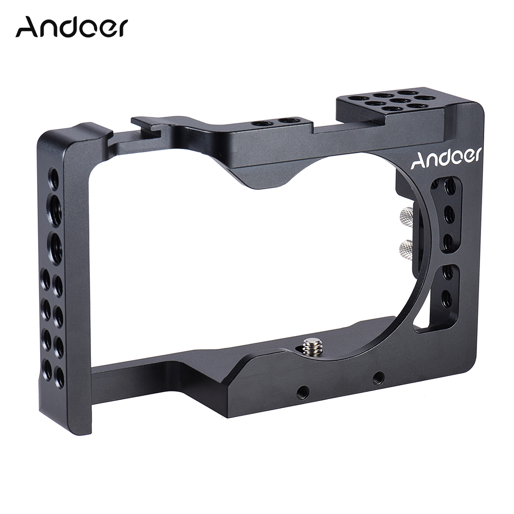 Andoer Aluminum Alloy Camera Cage for Sony A6500 ILDC Camera to Mount Microphone Monitor Tripod Lighting