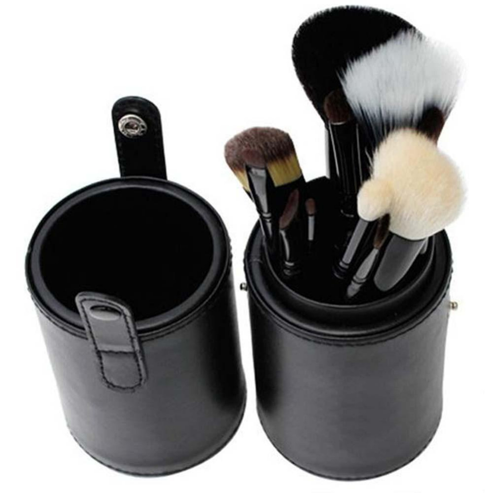 NEW Hot Beauty Makeup Brushes 12pcs/set Pro Cosmetic Makeup Brush Set Make up Tool + Leather Cup Holder Kits zip up faux leather leopard jacket