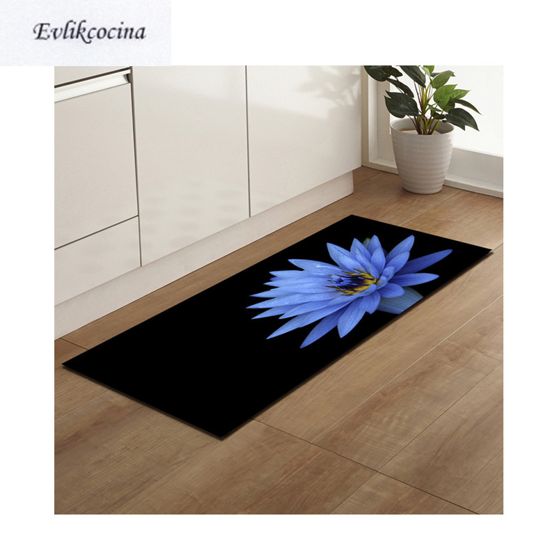 Frete Grátis Blue Lotus Banyo Paspas Anti Slip Bath Mat porta Piso Tapete Banheiro Tapete Para Toliet Antiderrapante Alfombra Bano