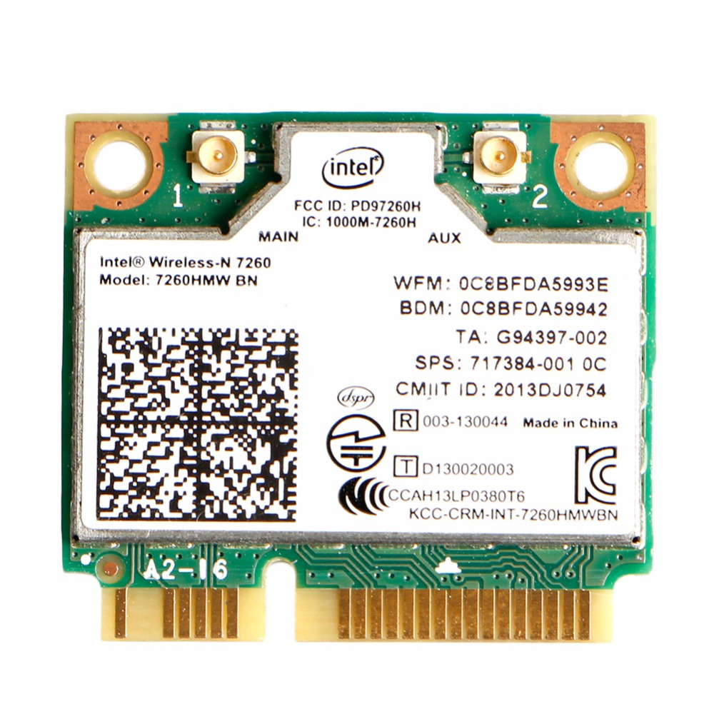 New Intel Wireless-N 7260HMW BN Half Mini PCIe PCI-Express WLAN WIFI Card Modul