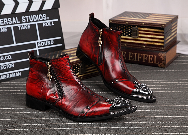 2018 Handmade Red Men Shoes Metal Pointed Toe Ankle Boots Genuine Leather Shoes Men Hombre Cowboy Military Boots Prom Shoes handsome red genuine leather men ankle boots metal pointed toe mens wedding dress shoes high top botas hombre cowboy boots