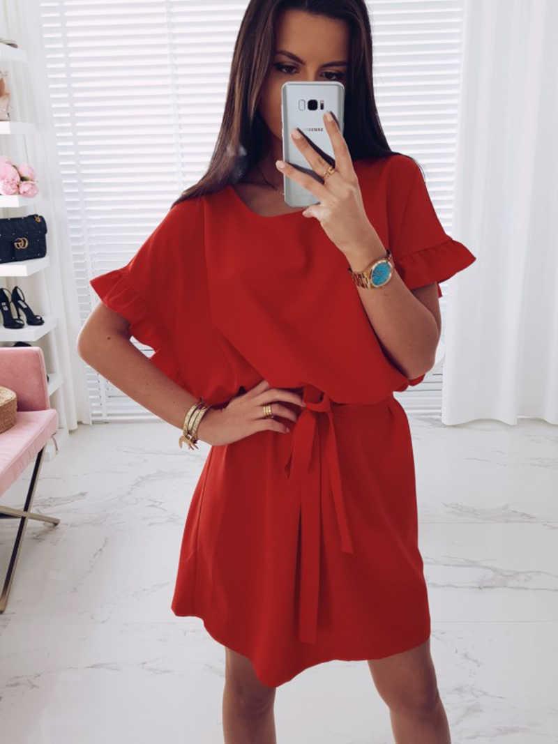 2019 Новое модное женское шифоновое платье свободного кроя, Повседневное платье с круглым вырезом и рукавами «летучая мышь», пояс-баска, женские пляжные мини-платья