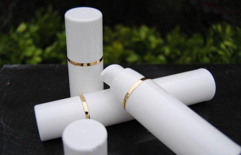 50 шт./лот pp 50 мл бутылка безвоздушного белый чистый цвет безвоздушный насос для лосьона, 50 мл EMP tybb крем термос белый + Золотая линия