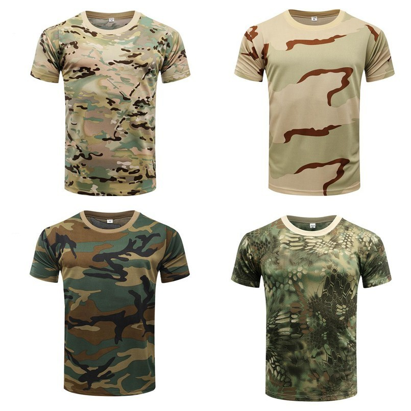 Pro Camouflage Hiking Fishinig T Shirt Summer Coolmax Breathable Sports Tops Quick Dry O Neck Short Sleeve T Shirt