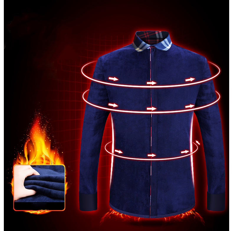 Image 3 - 2019 Fashion Men's Winter Warm Plush Slim Shirts 24 Colors Striped Plaid Print Blouse For Men Casual Retro Clothes Size M 5Xl