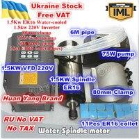 [Ukraine Promotion] 1.5KW ER16 Water Cooling Spindle Motor 220V+1.5KW HY VFD Interver & ER16 collet +80mm Clamp + 75W Water Pump|Machine Tool Spindle| |  -