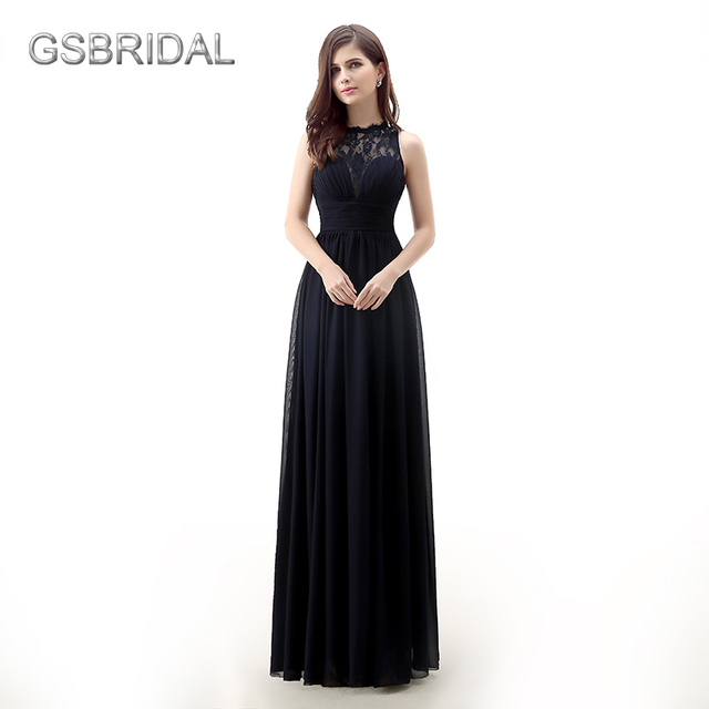 GSBRIDAL Dark Navy Lace Neck A Line Chiffon Prom Dress-in Prom ...