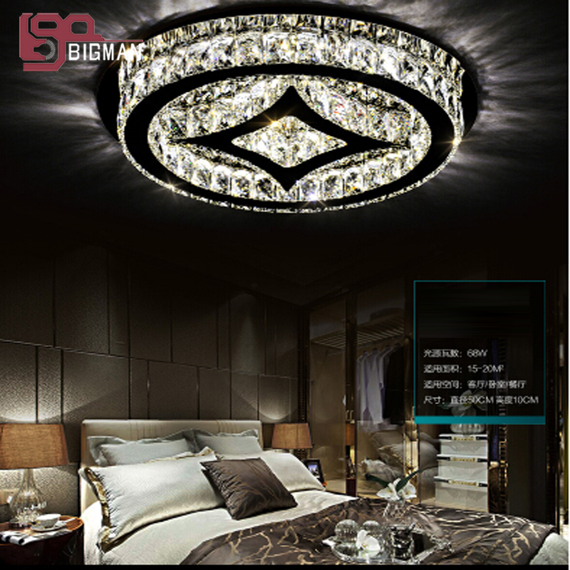 New round LED ceiling lamp modern crystal ceiling lights cystal light LED luminare for bedroom reading room light ...