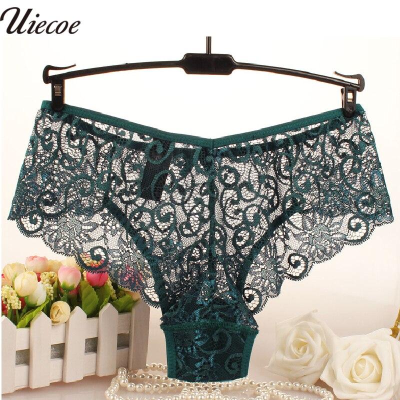 Buy UIECOE Fashion High Quality Women's Panties Transparent Underwear Women Lace Soft Briefs Sexy Lingerie Plus Size S/XL