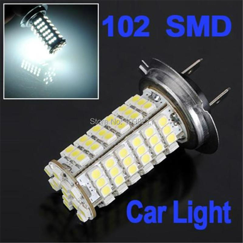 1pc H7 102 SMD Pure White Fog Driving Running DRL Car 102 LED High Light Bulb Low Lamp 2pcs led car headlight light h15 63 smd 2835 drl daytime running light fog lamp bulb pure white 6000k dc 12v 24v