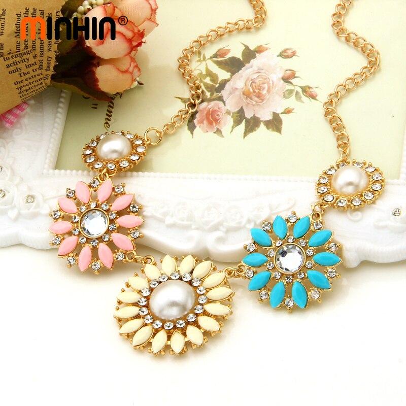 Costume Romantic Women Jewelry Pearl Beads Sun Flower Necklace Collar Choker