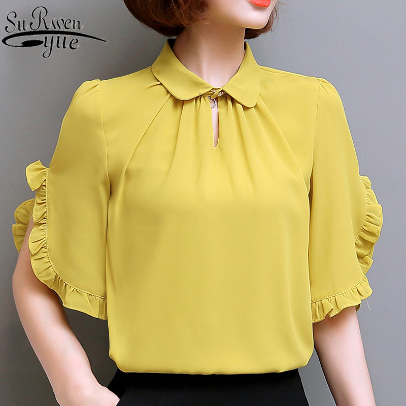 Fashion women tops and   blouses   2019 ladies tops white   blouse     shirt   chiffon   blouse     shirts   Butterfly Sleeve plus size 4276 50