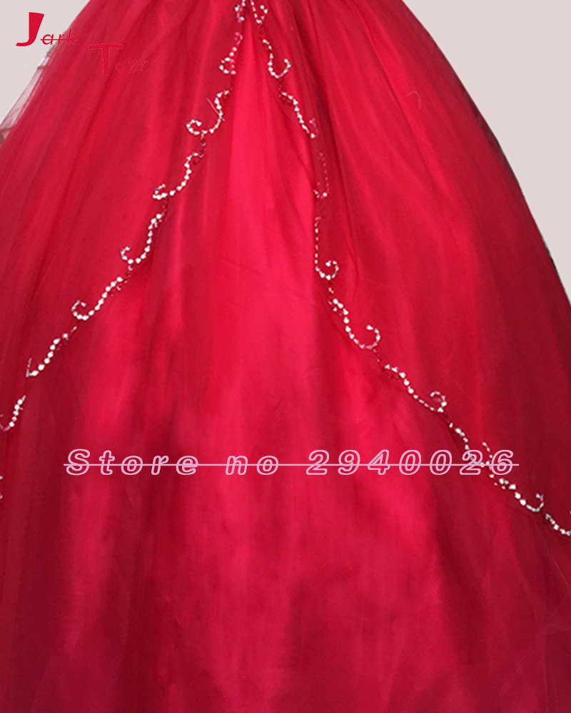 Jark Tozr Spaghetti Strap Lace Up Beading Crystal Red Orange Dark Turquoise Organza Quinceanera Dresses 2018 Vestidos De 15 Anos