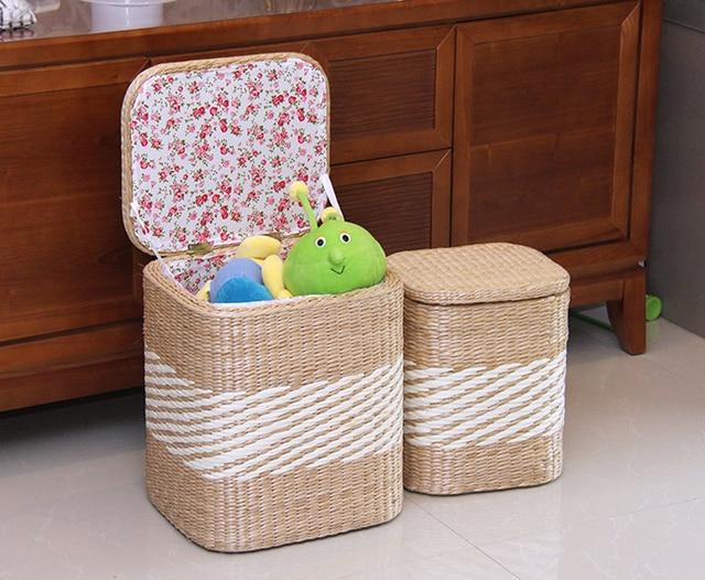 Handmade Storage Stool Ottoman Home Decoration Furniture Storage Toys Rattan  Wicker Chair Door Bench Kids Children