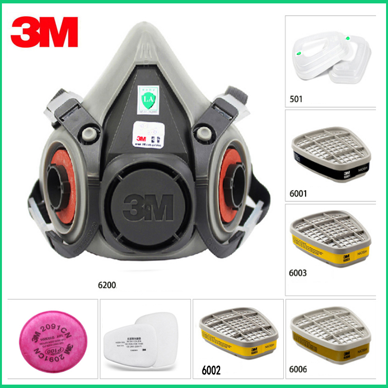 7in1 Set <font><b>3M</b></font> 6200 Half Facepiece mask+6001/6002/6003/6006filter Reusable Respirator Organic Mask Acid Organic Vapor&Acid Gas image