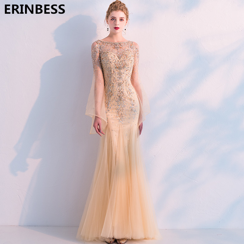 Vestido De Festa 2019 Gold   Evening     Dresses   Long   Dress   Prom Sexy Scoop Neck Mermaid   Evening     Dress   Long Sleve Robe De Soiree