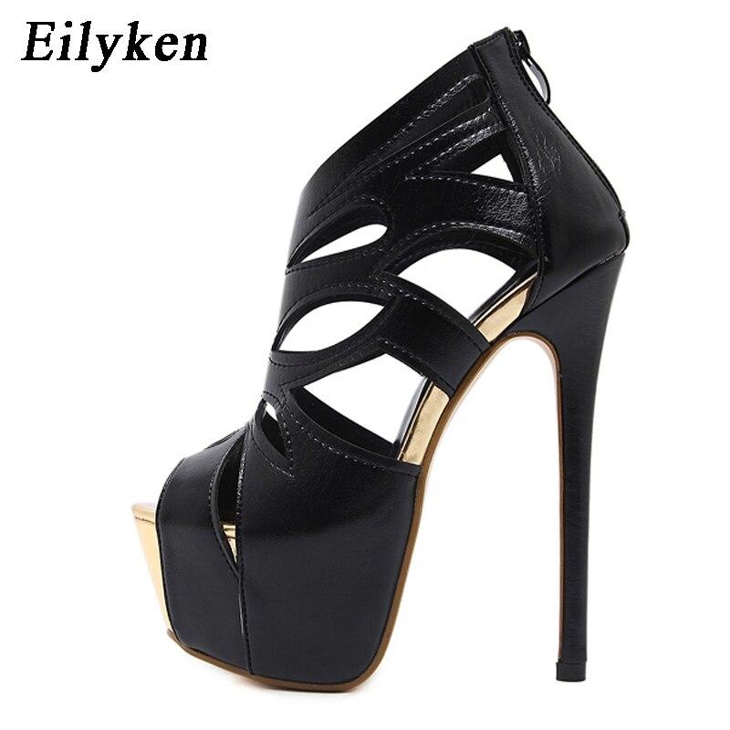Eilyken Women Sandals Super High Heel Open The Toe Sandals Thick Heel Fashion Sexy High Heels Sandals Shoes Black