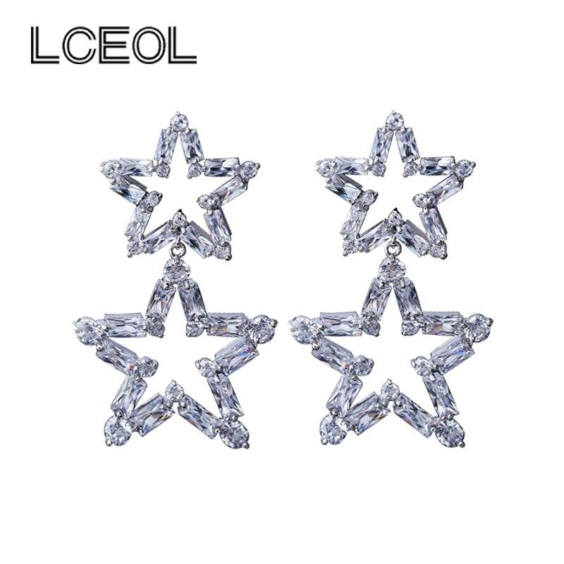 Lceol ювелирные изделия серьги двойная звезда Дизайн Принцесса Cut CZ Diamant зубец Установка мотаться Висячие серьги для Для женщин Валентина