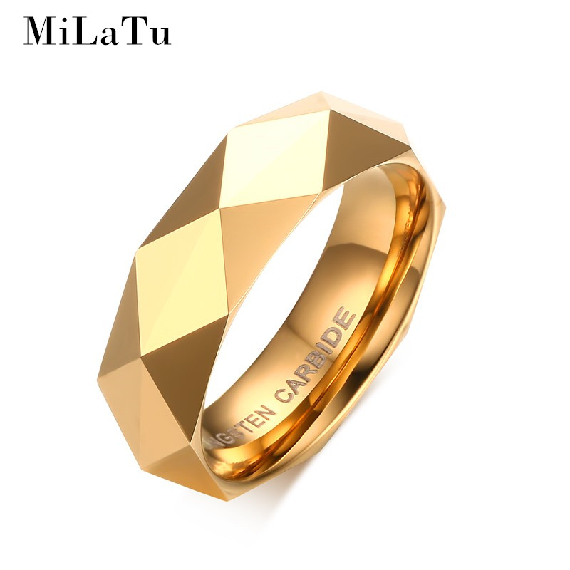 MiLaTu 3 Colors Rhombus Cut Men's Tungsten Ring Gold-color Wedding Bands Multi-faceted Dome Tungsten Women Men Jewelry R499G