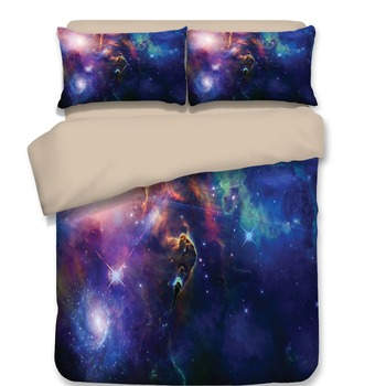 New 3D Print Galaxy Universe Bedding Set for Teen Boy Blue Starry Sky Zipper Duvet Cover with 2 Pillowcases good fashion quality
