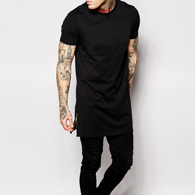 T-shirt bărbați lungime negru negru mens topuri t-shirt tricou - Imbracaminte barbati - Fotografie 3