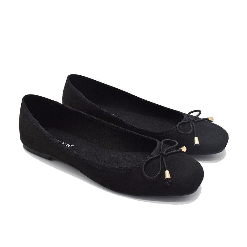 Ballet Flats Shoes Women Black Suede