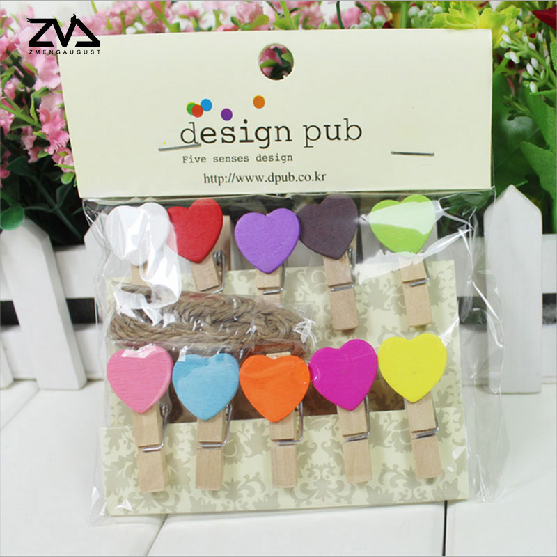10 pcs lot Cute multicolor Love Heart spring Wood Clip Photo Clips For Clothespin Craft Clips Party decoration Clip Hemp Rope in Clips from Office School Supplies