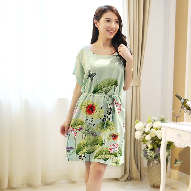 e890ea6d48 Green New Women s Cotton Nightgowns Home Dresses Summer Lounge Robe  Nightwear Fashion Flower Sleepwear Nightdress One Size