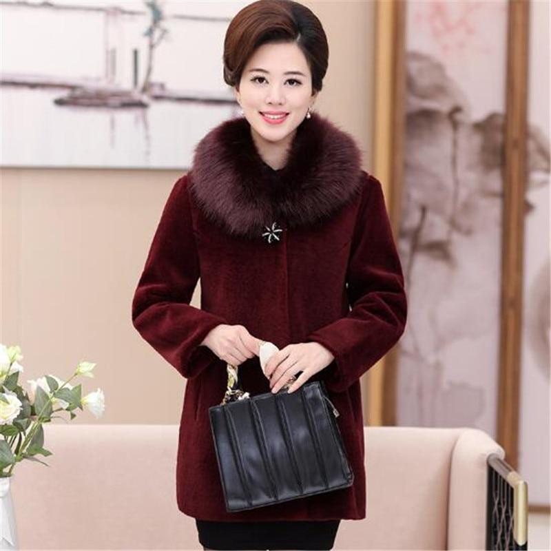 Pour red Wine Faux Veste Noir Outwear Épais De Fourrure 2019 Vison Longues Manches rouge black Chaud Manteau A3939 D'hiver Femmes Vêtements Vin À 1Rxwwa