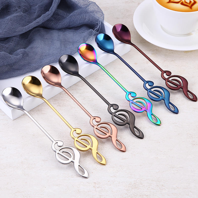 304 Stainless Steel Colorful Coffee Milk Stirring Teaspoon Portable Dessert Ice-cream Spoon with Music Note Handle 15.5*2.5cm