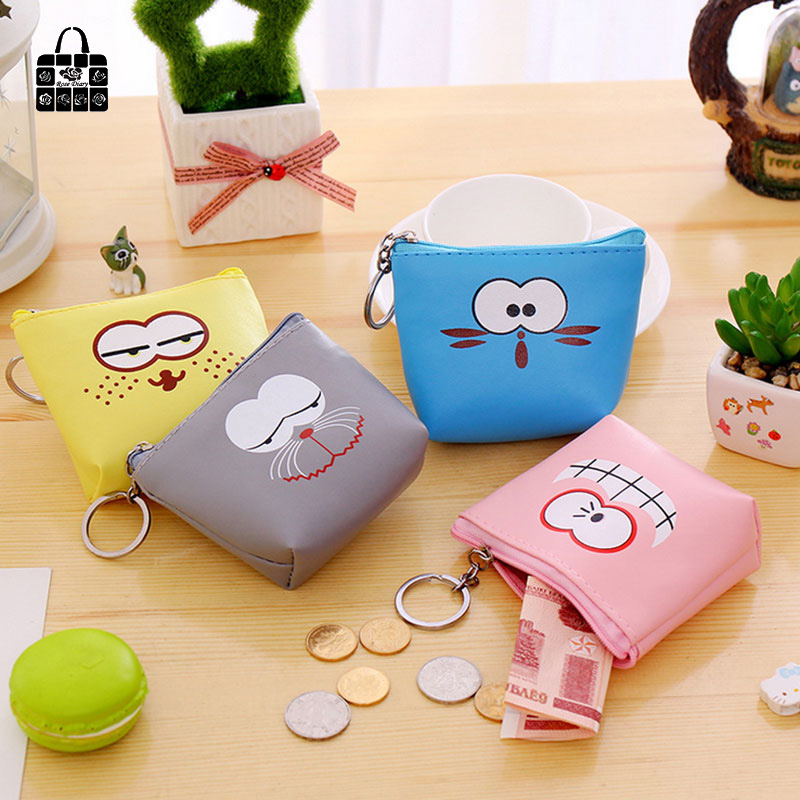 ROSEDIARY New creative Wacky expressions pu leather zero wallet child girl boy women purse,lady coin bag Pouch Case