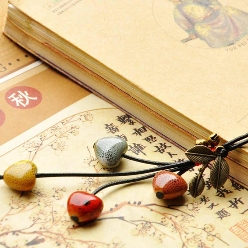 Ceramiczne serce naszyjniki wisiorki z liściem Choker długi sweter z łańcuszkiem i frędzlami wisiorek z koralikami brązowy dzwon skórzana linka kobiety biżuteria