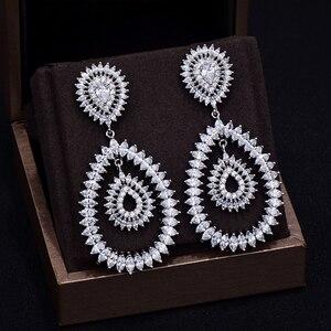 Image 2 - GODKI 브랜드 뉴 핫 패션 인기있는 럭셔리 워터 드롭 전체 큐빅 지르코니아 포장 바늘 웨딩 귀걸이 여성을위한