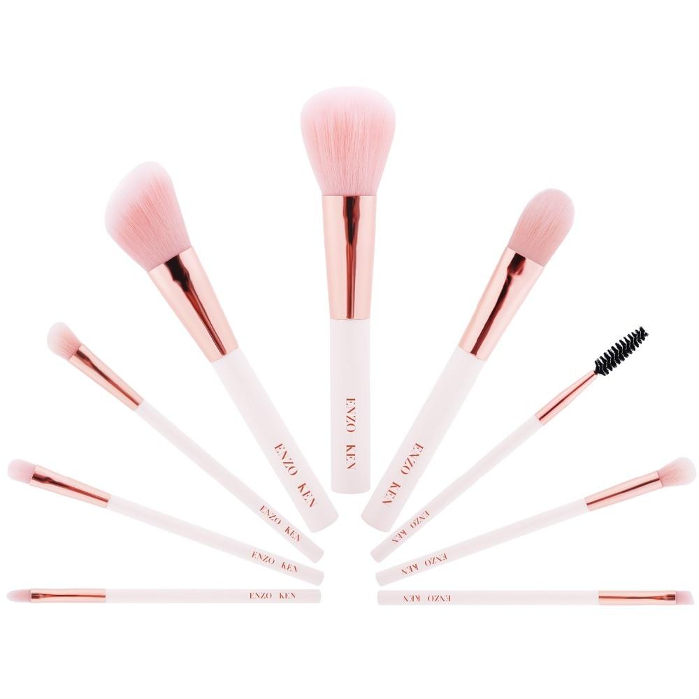 Pink Makeup Brushes with Cosmetic Bag ENZOKEN 9pcs Face Eyeliner Blush Contour Blending Foundation Makeup Brush Set Professional professional cosmetic makeup brushes in a pink pu bag